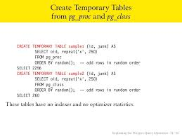 Create Temporary Table Explaining The Postgres Query Optimizer
