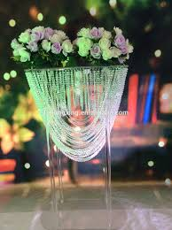 new fashion elegant crystal tall flower stand for wedding table