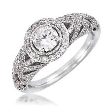 bjs engagement rings 1 00 ct t w halo ring in 14k white gold bj s wholesale