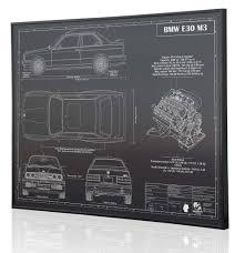 bmw e30 m3 by engraved blueprint art wall decor pinterest