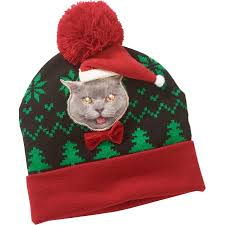 beanie with led lights christmas cat beanie hat w led lights walmart com