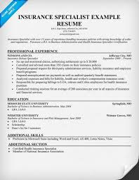 Risk Management Resume Samples by Free Insurance Specialist Resume Resumecompanion Com Resume