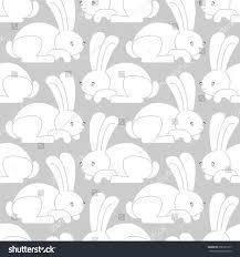 white rabbit seamless pattern hare ornament stock vector 658161577