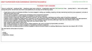 craft supervisor work experience certificate