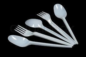 plastic utensils white plastic utensils forks spoons black background stock