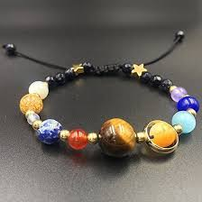 beaded braided bracelet images Universe solar system galaxy eight planets stone beads braided jpg