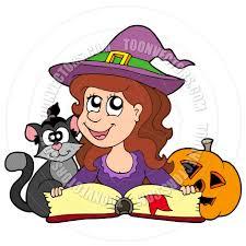 halloween cartoon clip art cartoon halloween reading book by clairev toon vectors eps