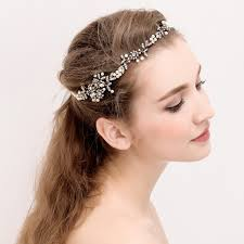 headband wedding bridal headpiece gold pearl bridal floral hair