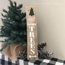 fresh cut christmas trees tall pallet wood sign