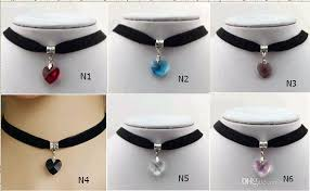 jewelry necklace choker collar images Wholesale crystal heart pendant choker collar lace velvet ribbon jpg