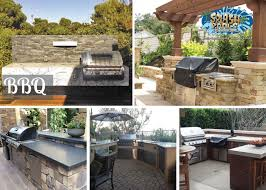 built in bbq splash pools and construction