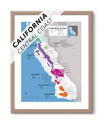usa california map regional wine map of central coast ca usa wine posters