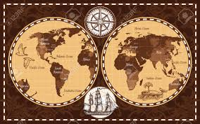 Map Of Continents And Oceans Brown Color Retro Nautical World Map With Names Of Continents