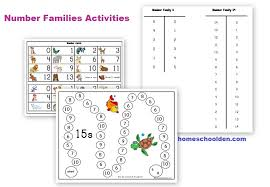 addition fact activities fact families worksheets and game boards