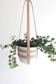 modern hanging planters modern hanging plant holder in natural leather ceiling within modern