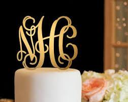 gold monogram cake topper monogram cake topper etsy