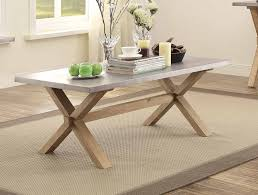 homelegance luella cocktail coffee table weathered oak with zinc