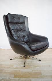 mid century retro danish black leather swivel lounge arm chair