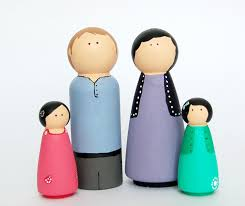 peg doll kit family of 4 wooden dolls kids craft kit diy