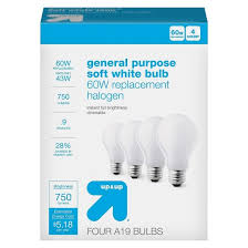 light bulb halogen general purpose soft white 4pk 60w up u0026 up