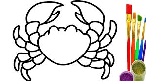 how to draw crab coloring pages for kids learn colors for baby