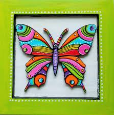tableau en bois peint du papillon