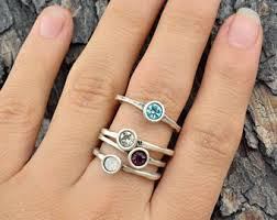 stacked birthstone rings stackable birthstone rings etsy