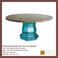 copper top dining room tables round wood dinette hammered oxidized copper top octagonal base mod