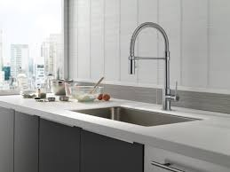 Semi Professional Kitchen Faucet by Delta Trinsic Single Handle Pull Down Kitchen Faucet With Spring