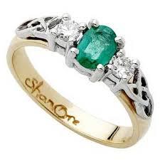 Irish Wedding Rings by 14k Emerald And Diamond Celtic Engagement Ring