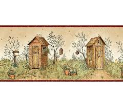 wallpaper borders bathroom ideas 34 best outhouse ideas images on outhouse ideas