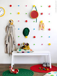 a grid of colorful knobs for hanging coats hats purses dress mommo design ikea hacks for kids dots hooks wall with losjon good ides for the closet wall