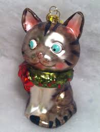 glass tabby cat christmas tree ornament with whiskers ebay