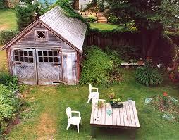 Backyard Garage Designs Green Backyard Office Repurposing A Century Old Garage