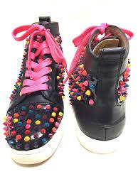 christian louboutin black patent multicolor spikes