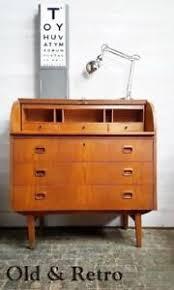 teak roll top desk vintage retro teak danish modern roll top desk bureau drawers mid