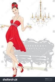 christmas martini clip art beautiful red dress walking glasses stock vector 97303532