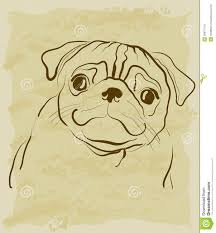 vintage sketch of pug dog stock vector image of silhouette 28971704