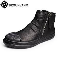 zipper boots s s leather boots high skateboard shoes retro frosted leather