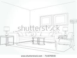 linear sketch interior living room plan stock vector 714876916