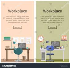 workspace workplace home design office interior stock vector