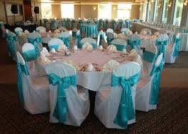blue chair sashes blue sashes on ivory chair covers wedding linens by