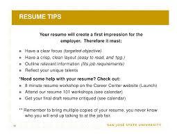 Sjsu Resume Job Fair Success Workshop 09
