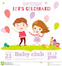 Birthday Invitation Card Kids Vector Birthday Invitation Card On Baby Party With Stock Vector