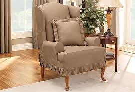 Slipcover For Wingback Chair Design Ideas 2 Wingback Chair Slipcovers Slipcover And Ottoman Intended