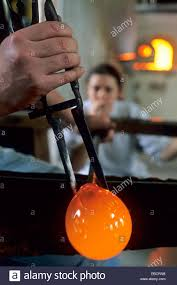 manufacturing of handcrafted glassblowed baubles stock