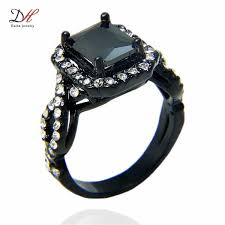 black gold engagement ring 2018 turkish gold jewelry black gold rings aaa zircon 18kt white