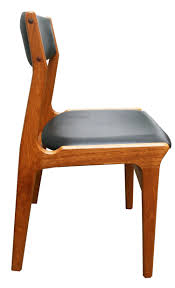 pair of scandinavian chairs in teak and black leatherette edition