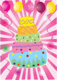 vector fun birthday cake with balloons royalty free cliparts