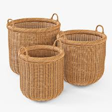 Cane Laundry Hamper by Wicker Basket 07 Toasted Oat Color By Markelos 3docean